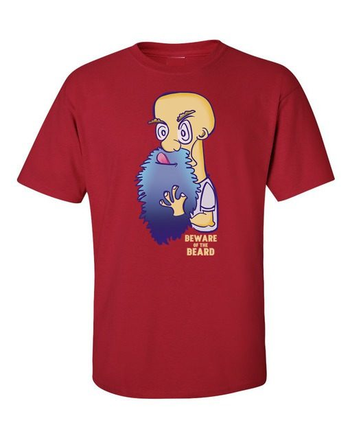 Beware of Beard T-Shirt Cherry Red