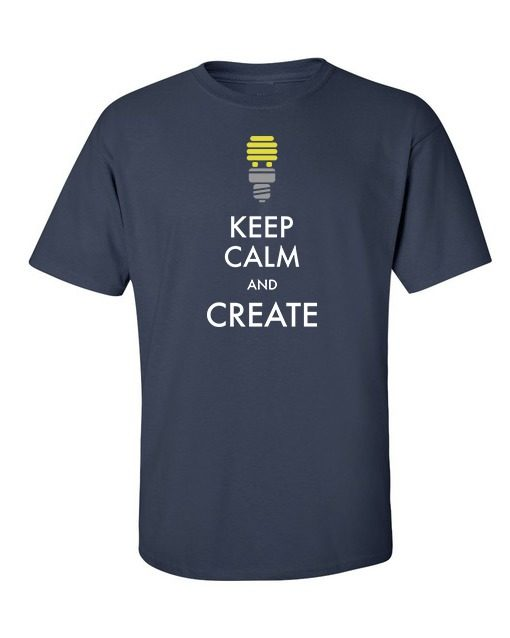 Keep Calm & Create T-Shirt Navy Blue