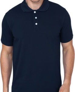 Mens polo t shirt navy blue front
